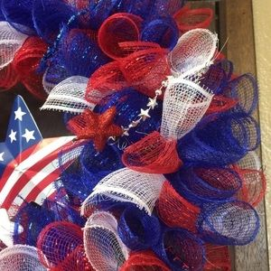 Other - Patriotic 4th of July Decorative Mesh Wreath